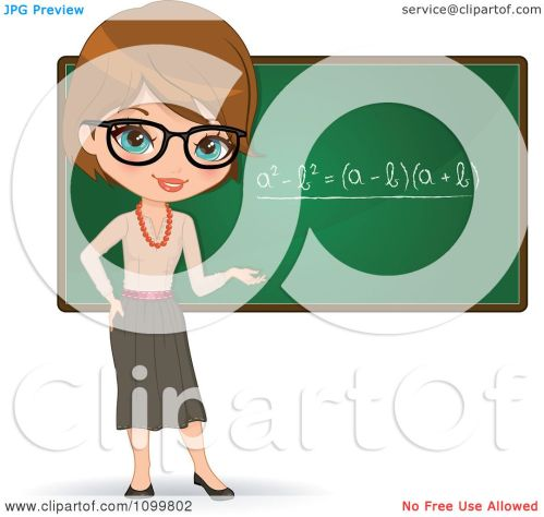 small resolution of clipart friendly brunette female math teacher with glasses presenting a chalkboard royalty free vector illustration by melisende vector