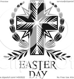 clipart graphic of a black and white cross and easter text royalty free vector illustration [ 1080 x 1024 Pixel ]