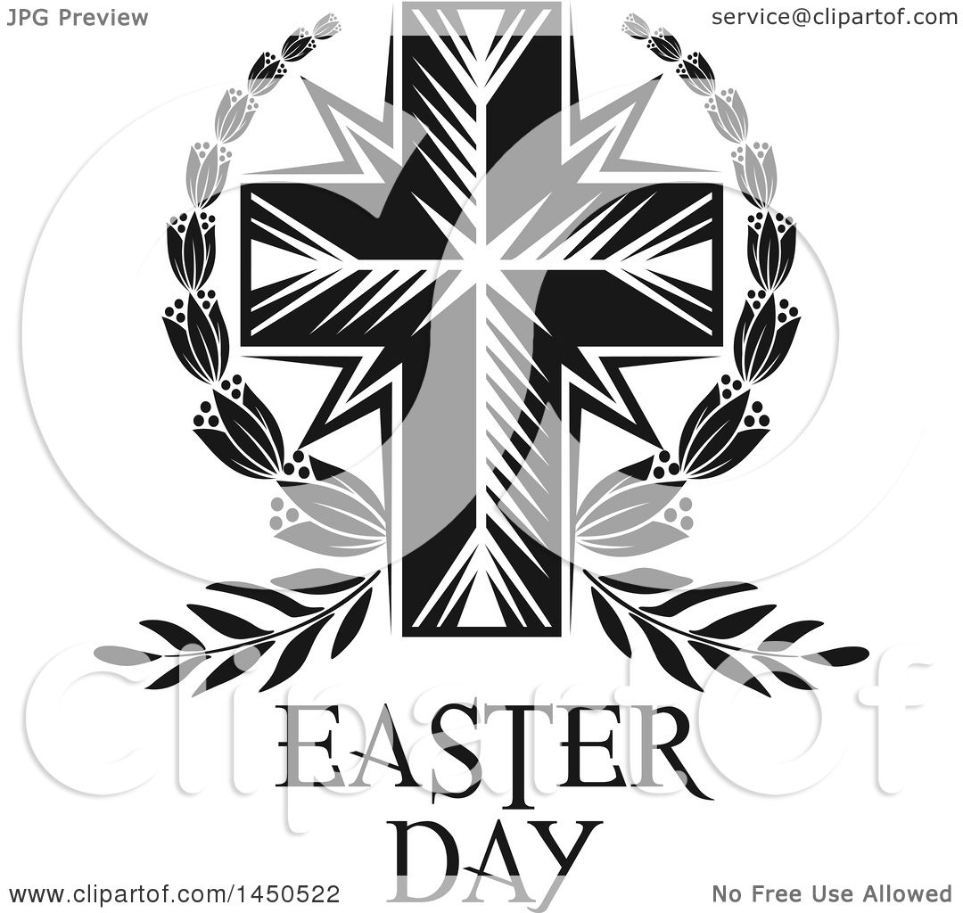 hight resolution of clipart graphic of a black and white cross and easter text royalty free vector illustration
