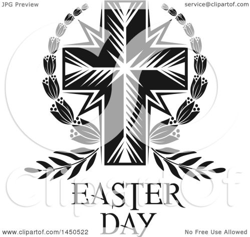 small resolution of clipart graphic of a black and white cross and easter text royalty free vector illustration