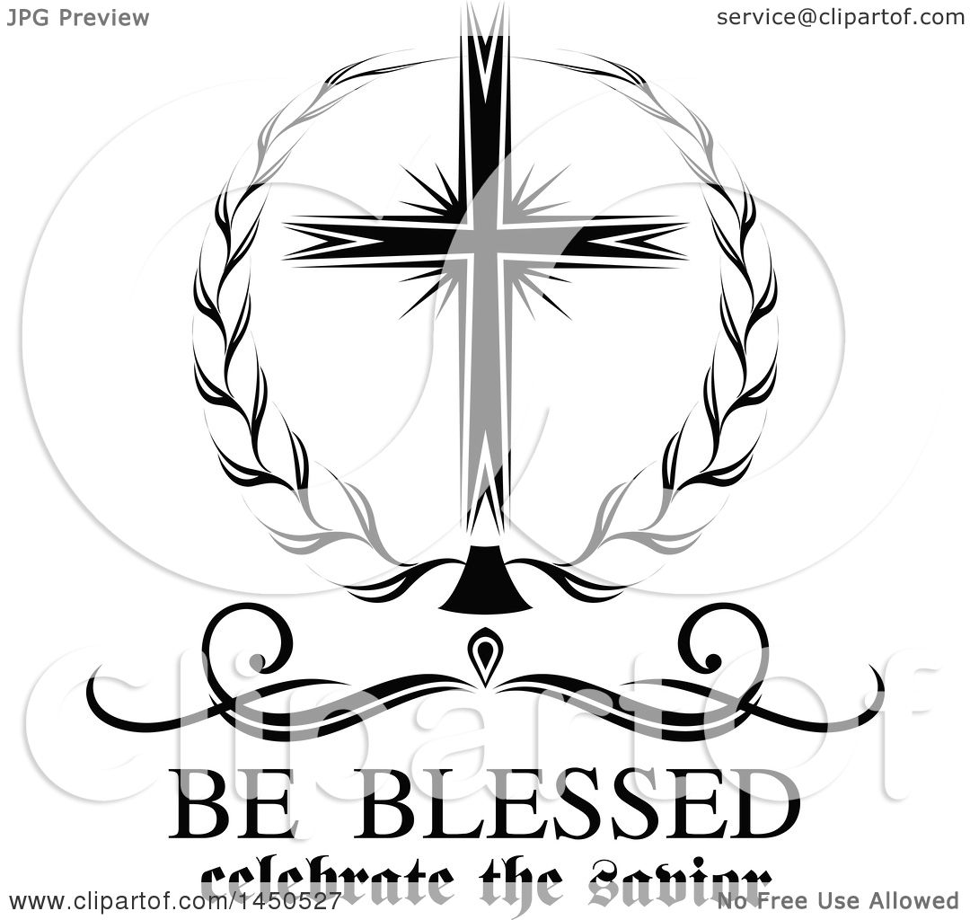 Clipart Graphic Of A Black And White Cross And Easter Text
