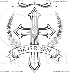 clipart graphic of a black and white cross and he is risen text royalty free [ 1080 x 1024 Pixel ]