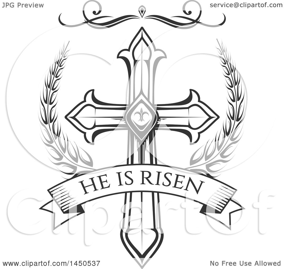 hight resolution of clipart graphic of a black and white cross and he is risen text royalty free