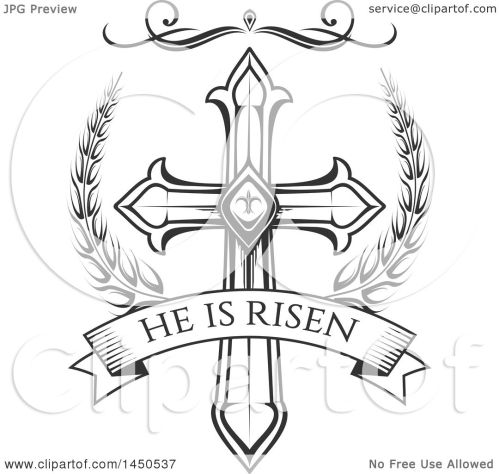 small resolution of clipart graphic of a black and white cross and he is risen text royalty free
