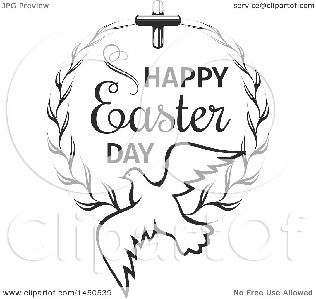 Clipart Graphic of a Black and White Cross and Wreath with
