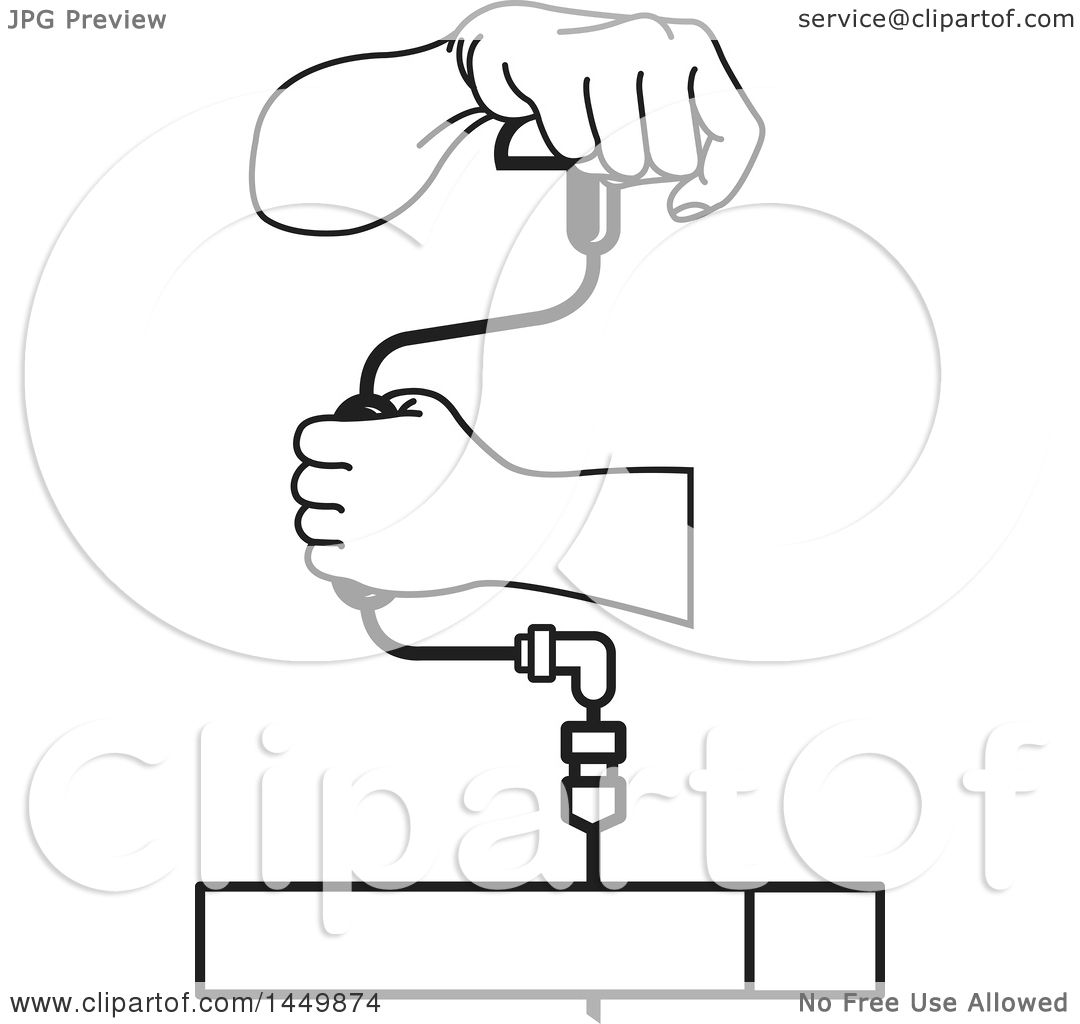 Clipart Graphic of a Black and White Pair of Hands Using a