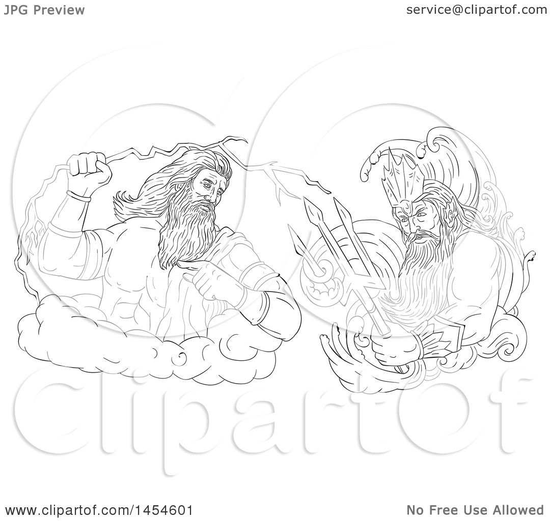 Clipart Graphic Of A Black And White Sketched God Zeus