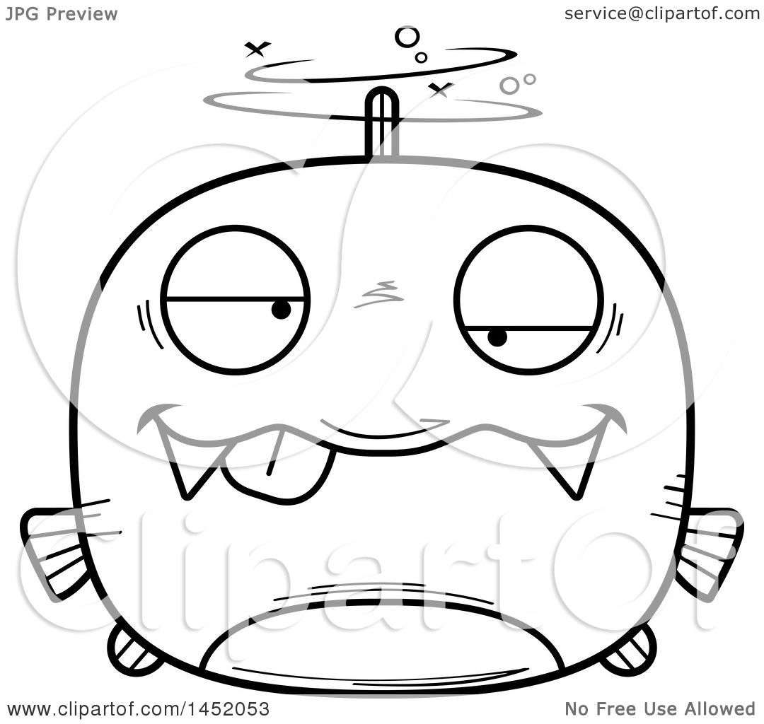 Clipart Graphic Of A Cartoon Black And White Lineart Drunk