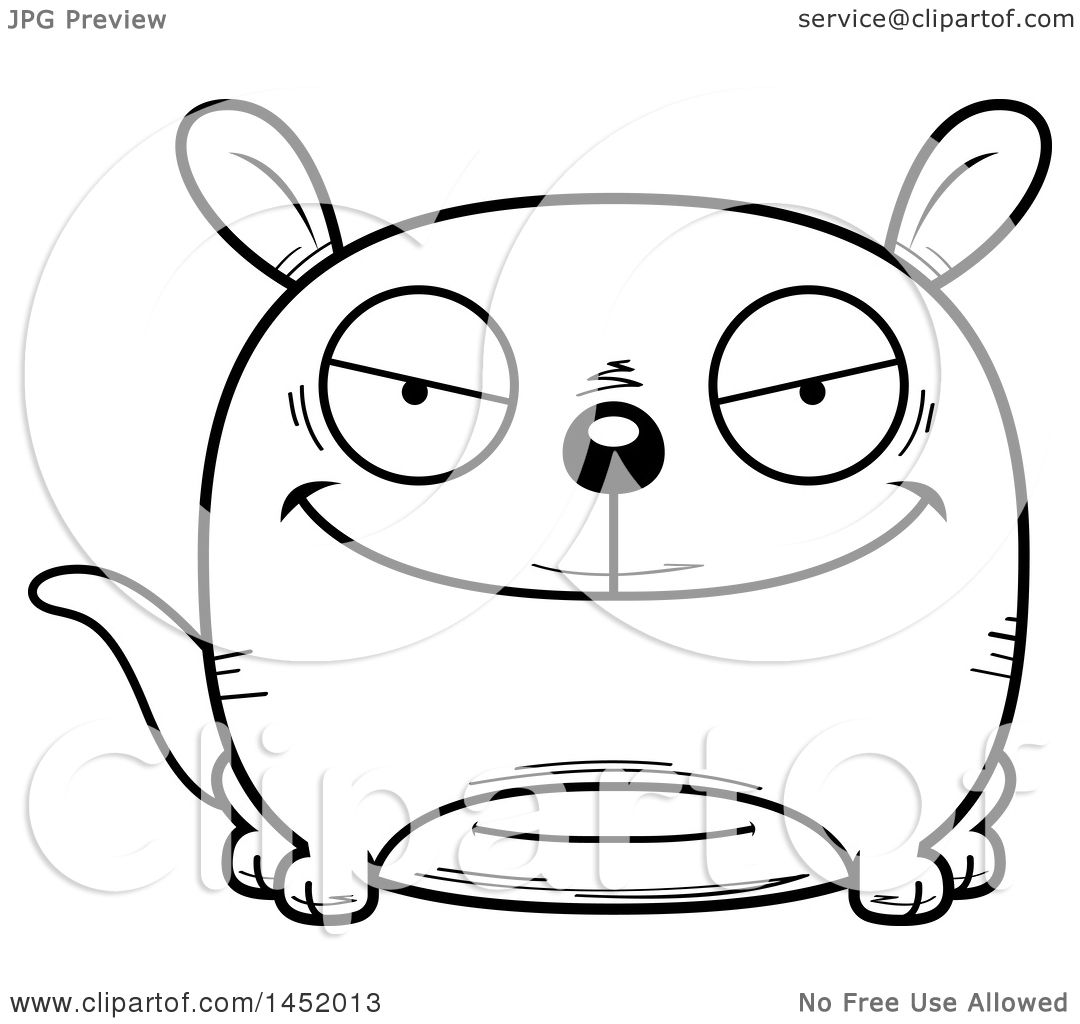 Clipart Graphic Of A Cartoon Black And White Lineart Evil