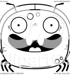clipart graphic of a cartoon black and white lineart happy ant character mascot royalty free [ 1080 x 1024 Pixel ]