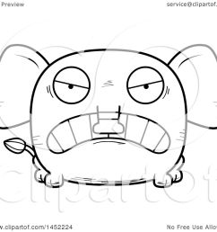clipart graphic of a cartoon black and white lineart mad elephant character mascot royalty free [ 1080 x 1024 Pixel ]