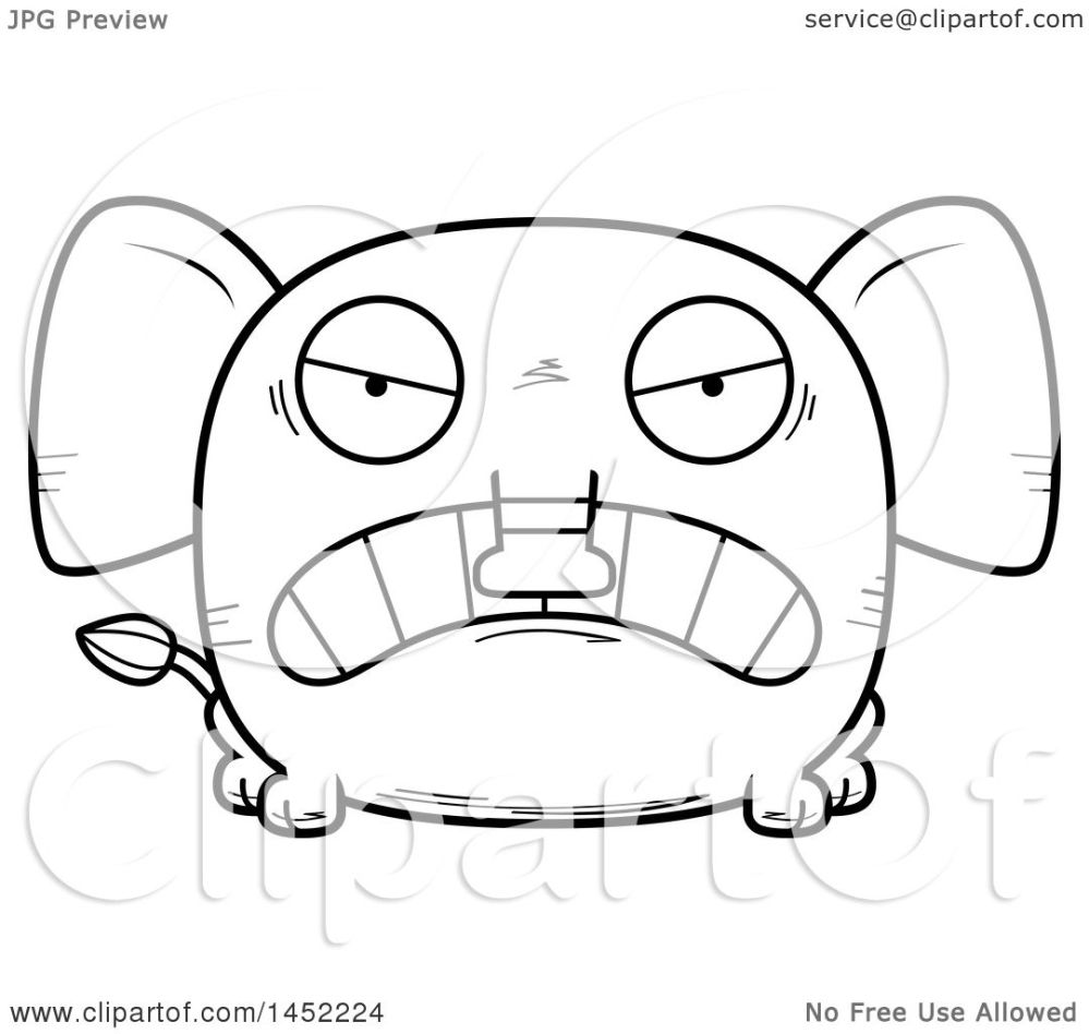medium resolution of clipart graphic of a cartoon black and white lineart mad elephant character mascot royalty free