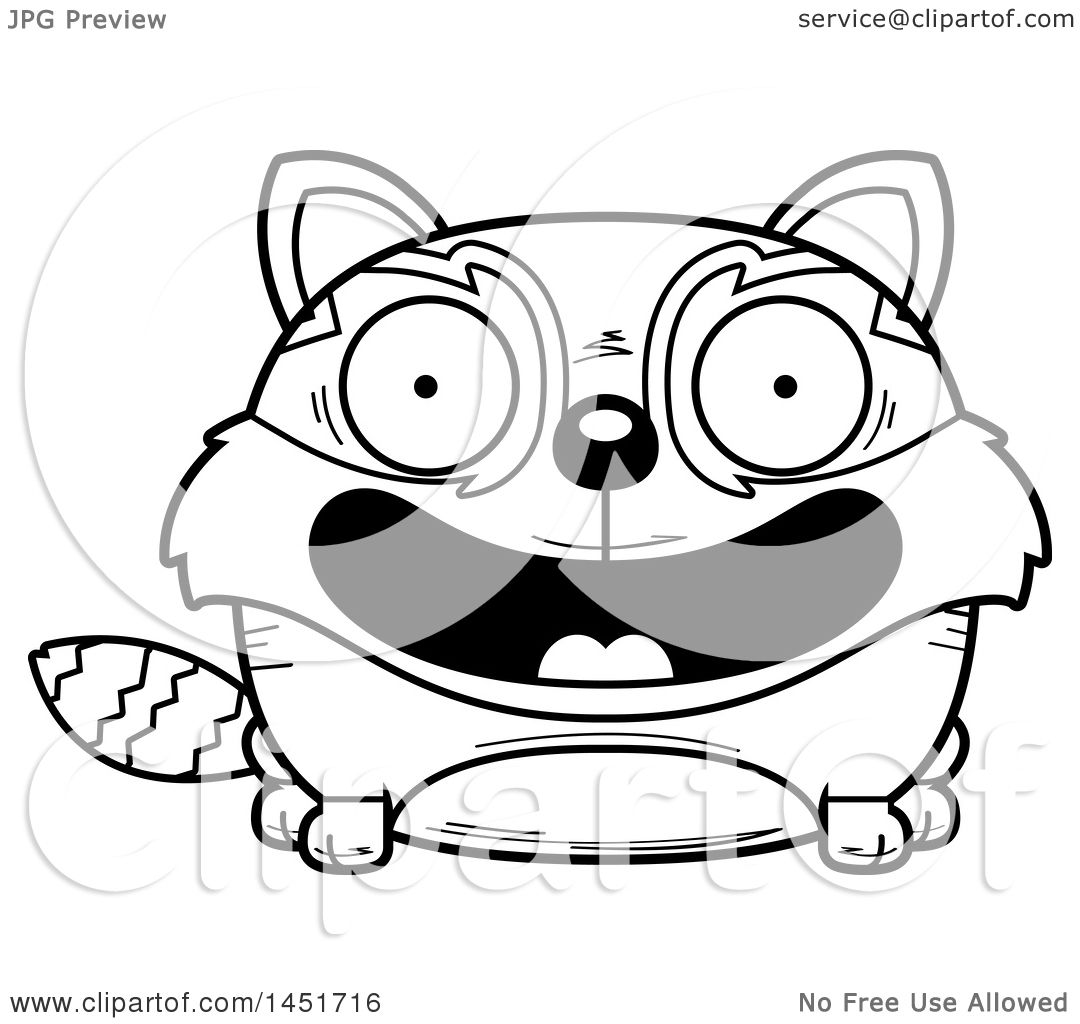 Clipart Graphic Of A Cartoon Black And White Lineart