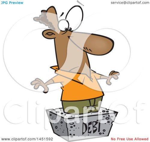 small resolution of clipart graphic of a cartoon black man debtor stuck in a cement block royalty free
