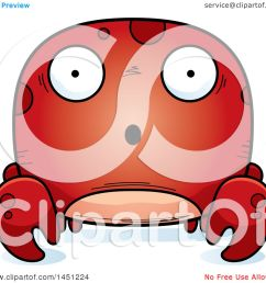 clipart graphic of a cartoon surprised crab character mascot royalty free vector illustration by cory thoman [ 1080 x 1024 Pixel ]
