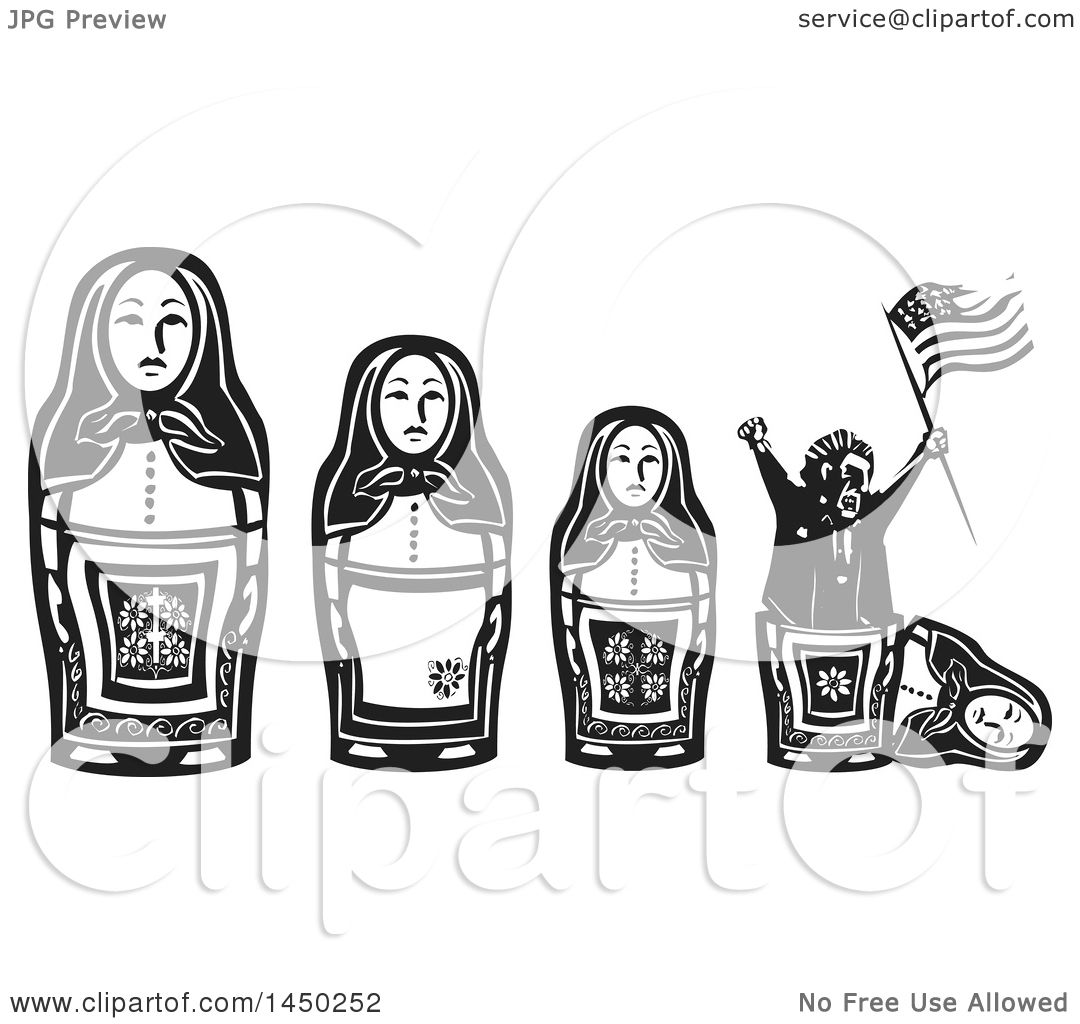 Clipart Graphic Of A Line Of Russian Matryoshka Nesting