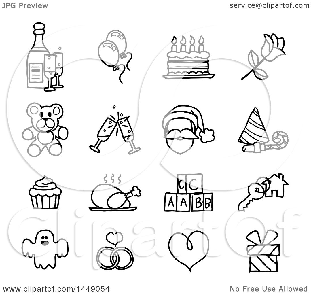 Clipart Graphic Of Black And White Sketched Life Event And