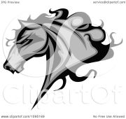 clipart gray horse head with black