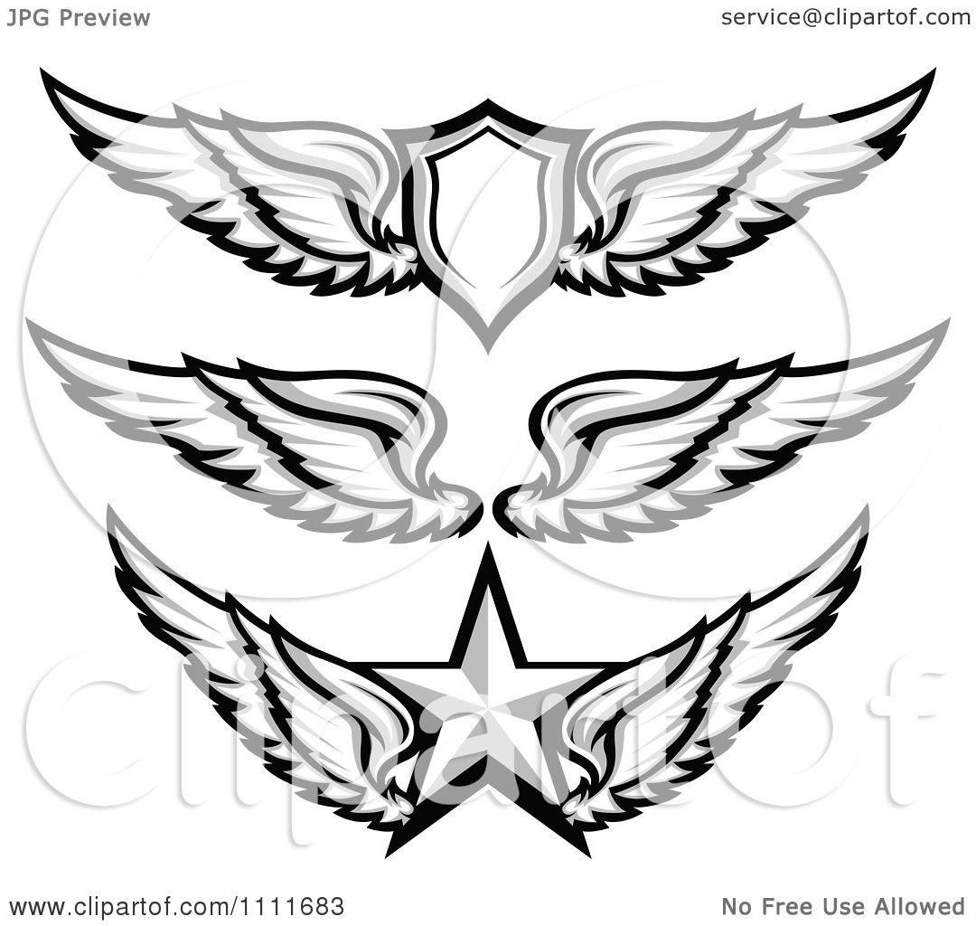 Clipart Grayscale Wing Badges With A Shield And Star