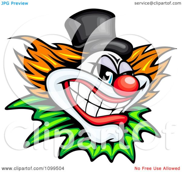 clipart grinning evil clown