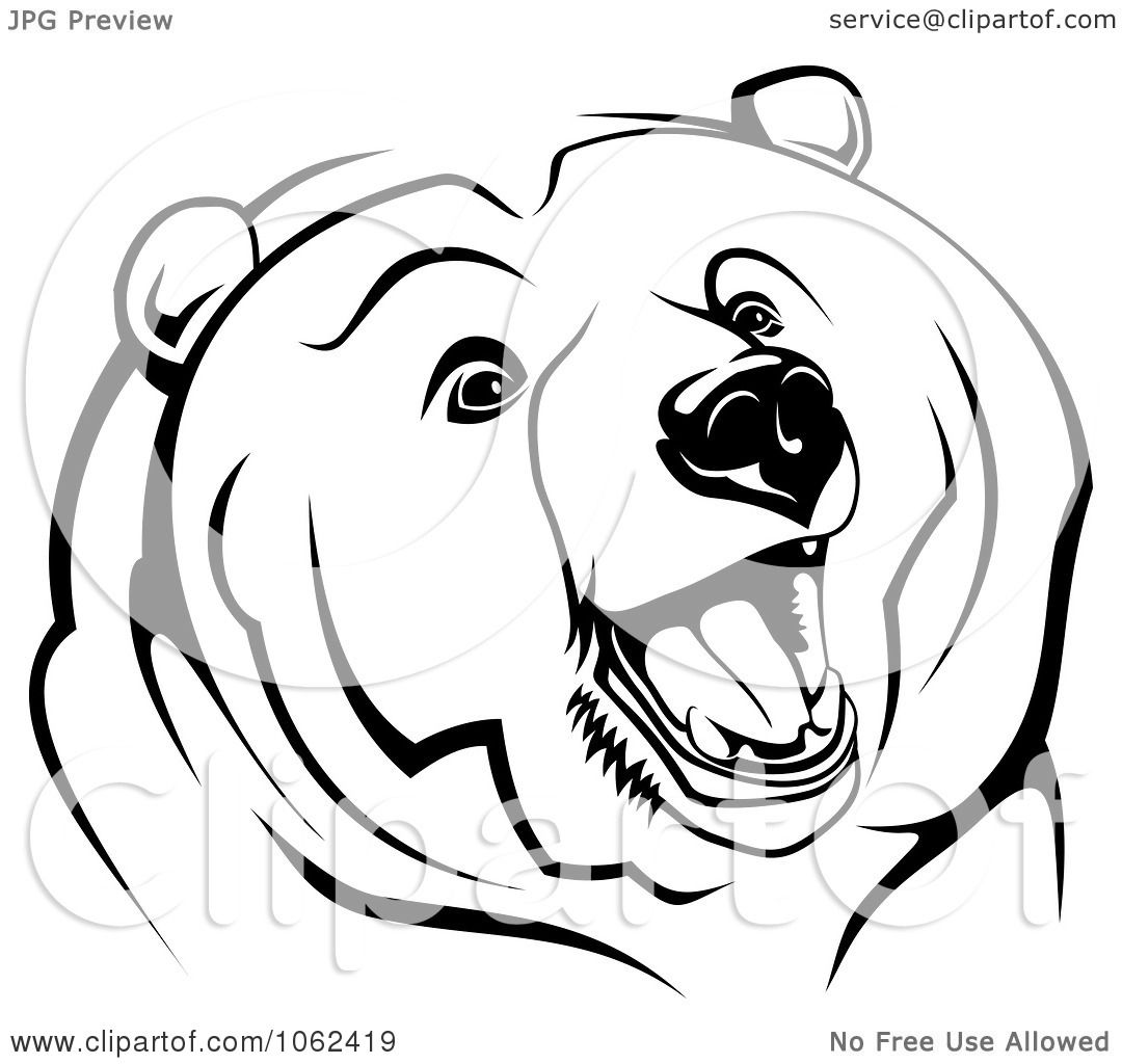 Clipart Growling Bear In Black And White