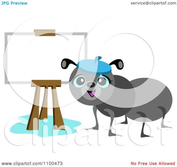 Clipart Happy Ant Artist Easel - Royalty Free Vector