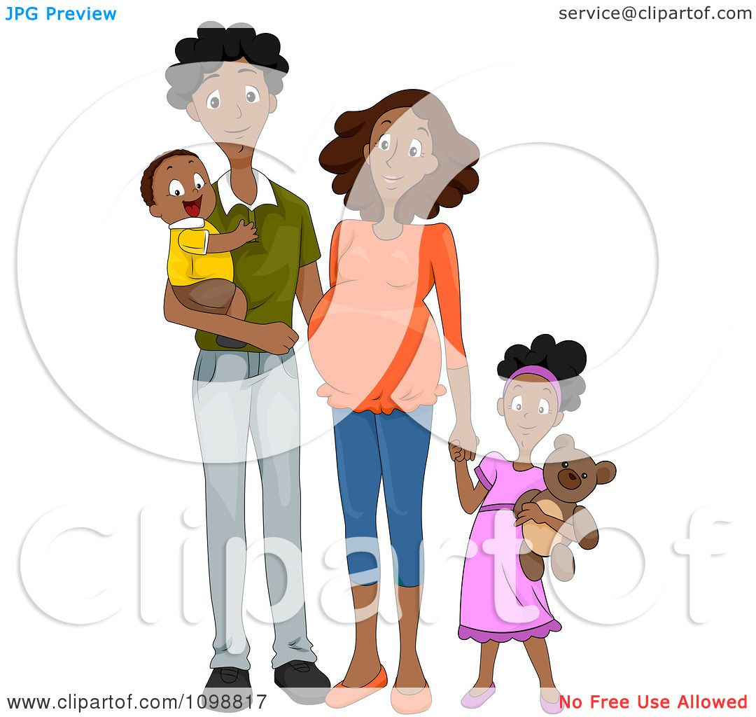 hight resolution of clipart happy black family with a pregnant mommy holding hands royalty free vector illustration by
