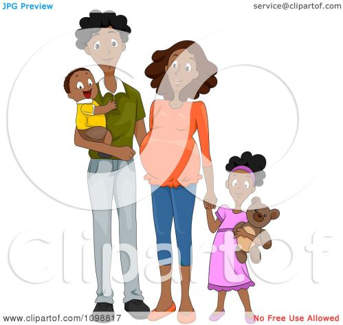 small resolution of clipart happy black family with a pregnant mommy holding hands royalty free vector illustration by