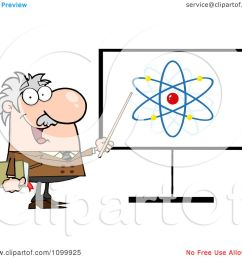 clipart happy caucasian professor discussing an atom diagram royalty free vector illustration by hit toon [ 1080 x 1024 Pixel ]