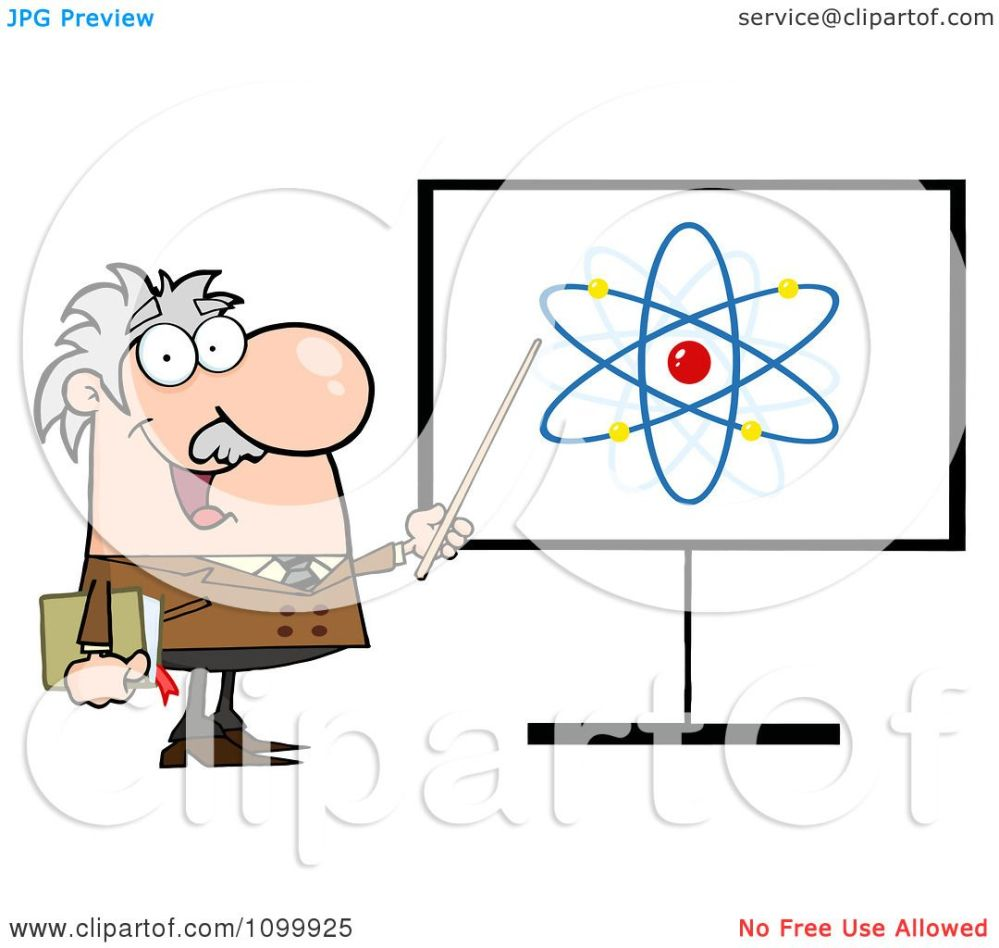 medium resolution of clipart happy caucasian professor discussing an atom diagram royalty free vector illustration by hit toon