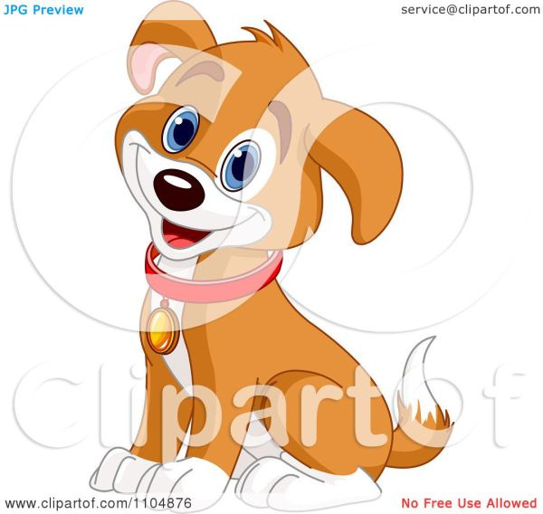 Clipart Happy Cute Beagle Puppy Dog Sitting And Wearing