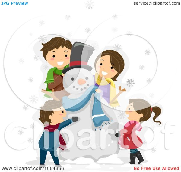 Clipart Happy Family Making Snowman - Royalty Free