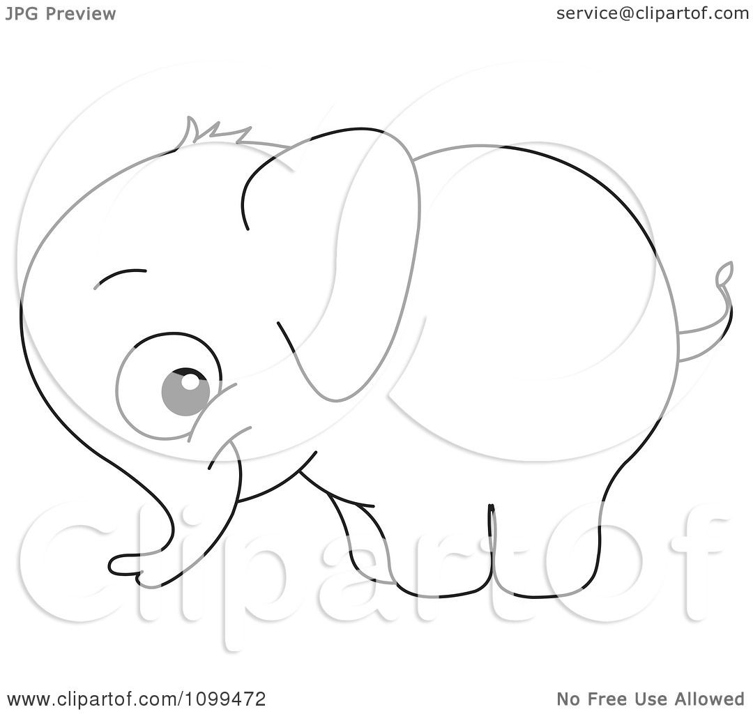 Clipart Happy Outlined Cute Baby Elephant