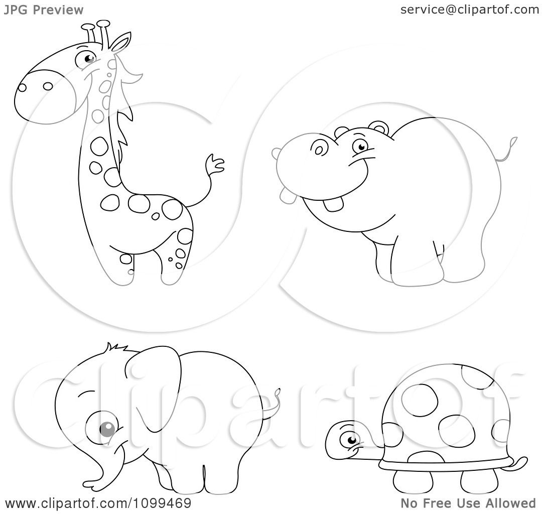 Clipart Happy Outlined Cute Baby Giraffe Hippo Elephant And Tortoise