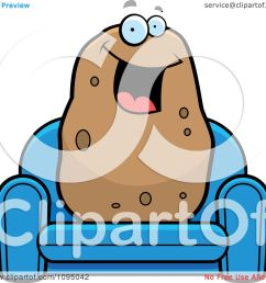 clipart happy potato sitting on a blue couch royalty free vector illustration by cory thoman [ 1080 x 1024 Pixel ]