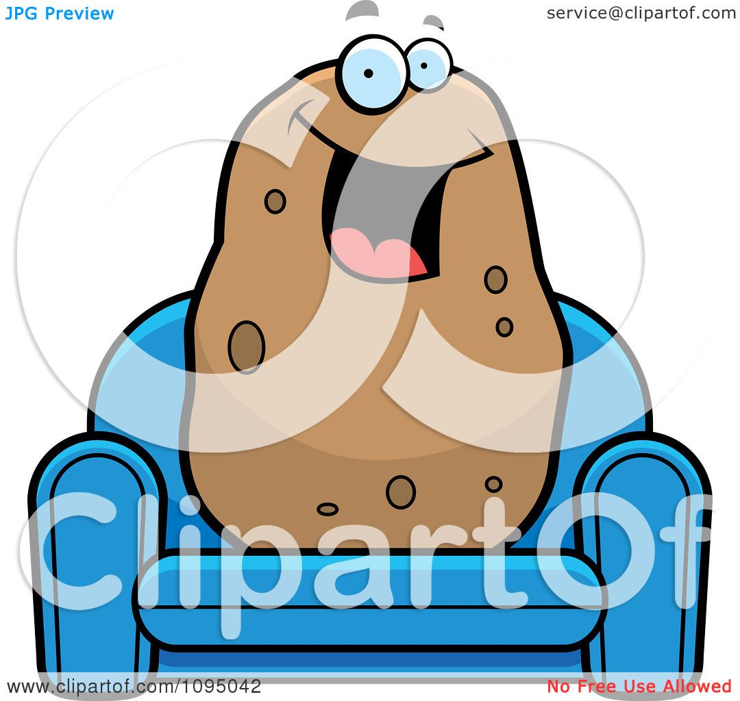 hight resolution of clipart happy potato sitting on a blue couch royalty free vector illustration by cory thoman