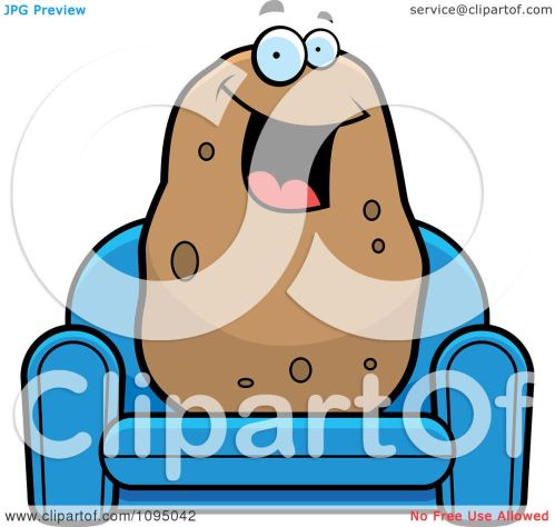 small resolution of clipart happy potato sitting on a blue couch royalty free vector illustration by cory thoman
