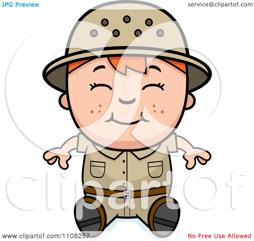 hight resolution of clipart happy red haired safari boy sitting royalty free vector illustration by cory thoman