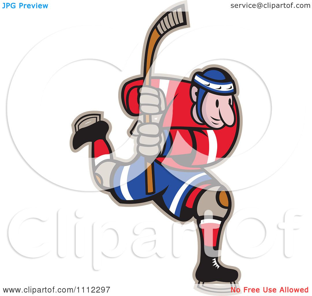 hight resolution of clipart hockey player skating and holding up a stick royalty free vector illustration by patrimonio