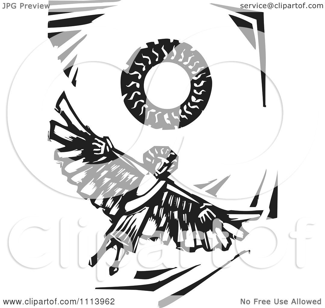 Clipart Icarus Flying Under The Sun Black And White