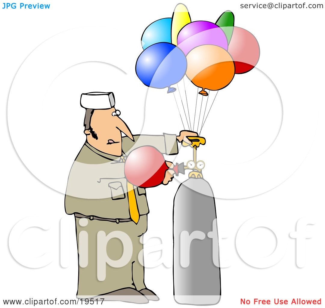 hight resolution of clipart illustration of a balloon guy in uniform filling colorful party balloons with helium by djart