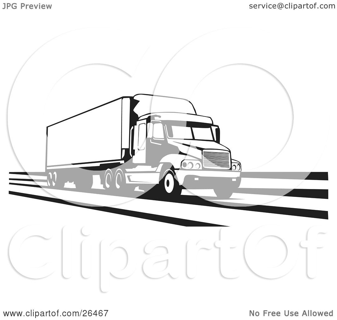 Clipart Illustration Of A Big Rig Truck Speeding Along The