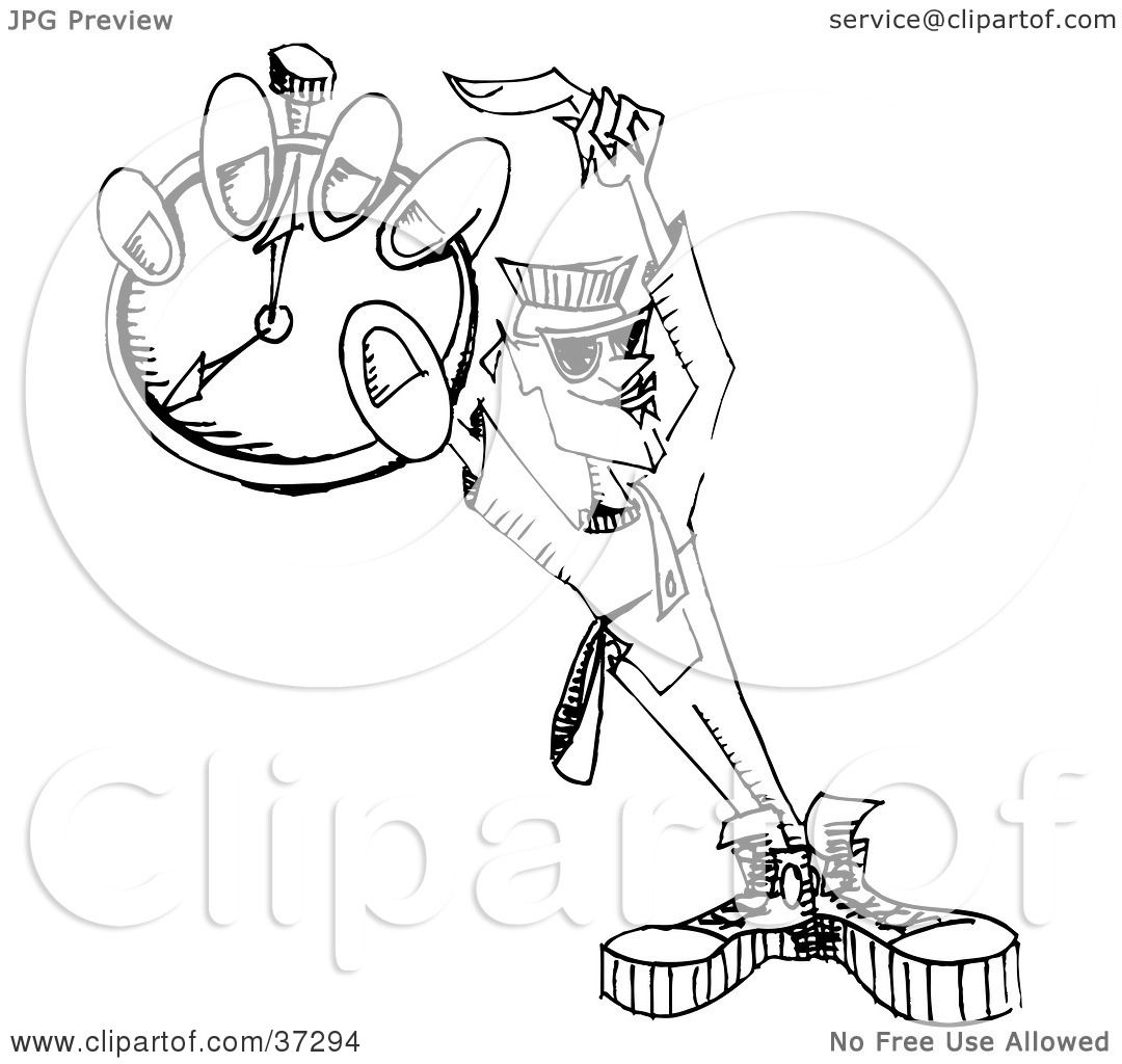 Clipart Illustration Of A Black And White Dj Man Holding A