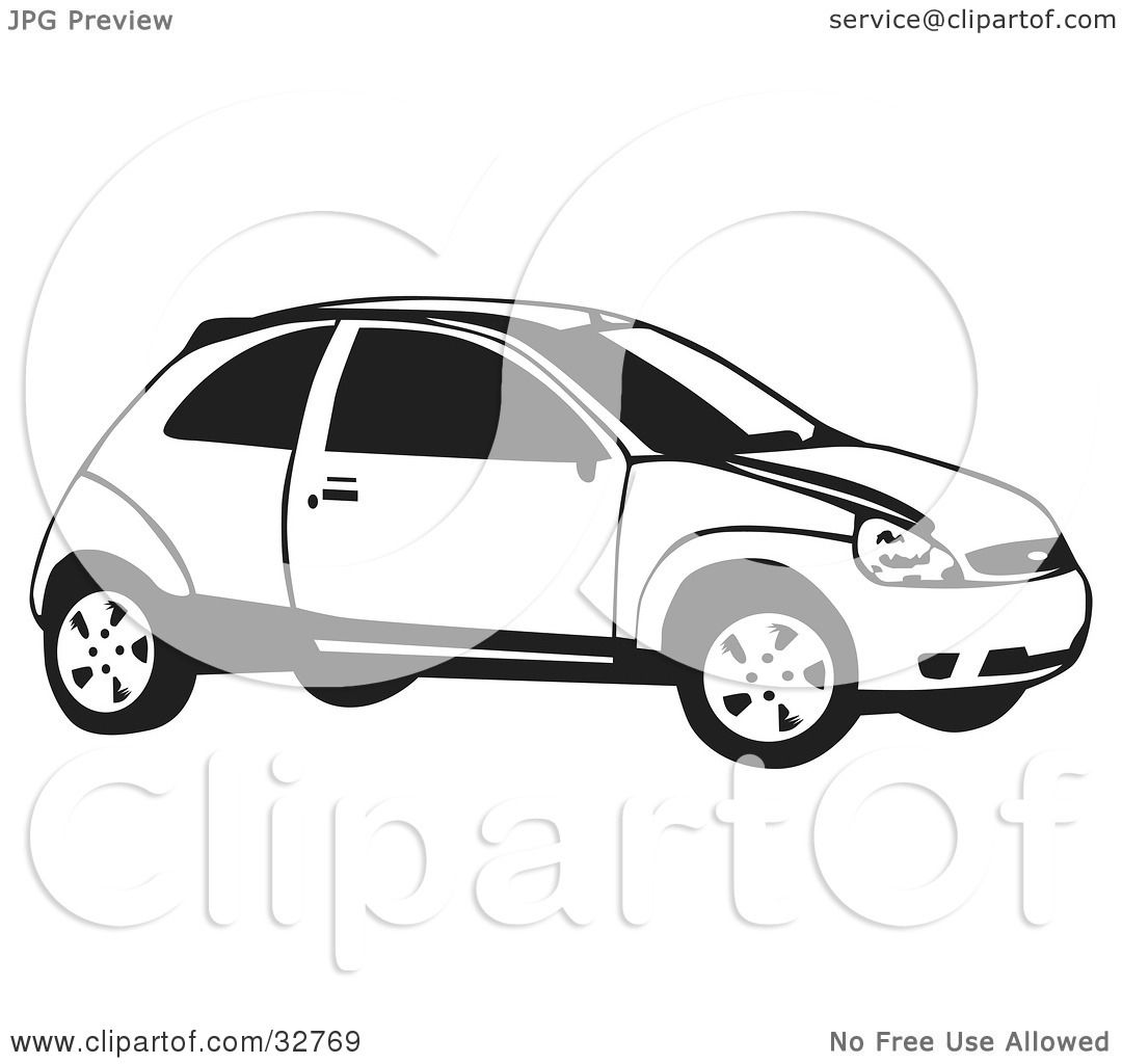 Clipart Illustration of a Black And White Ford Focus