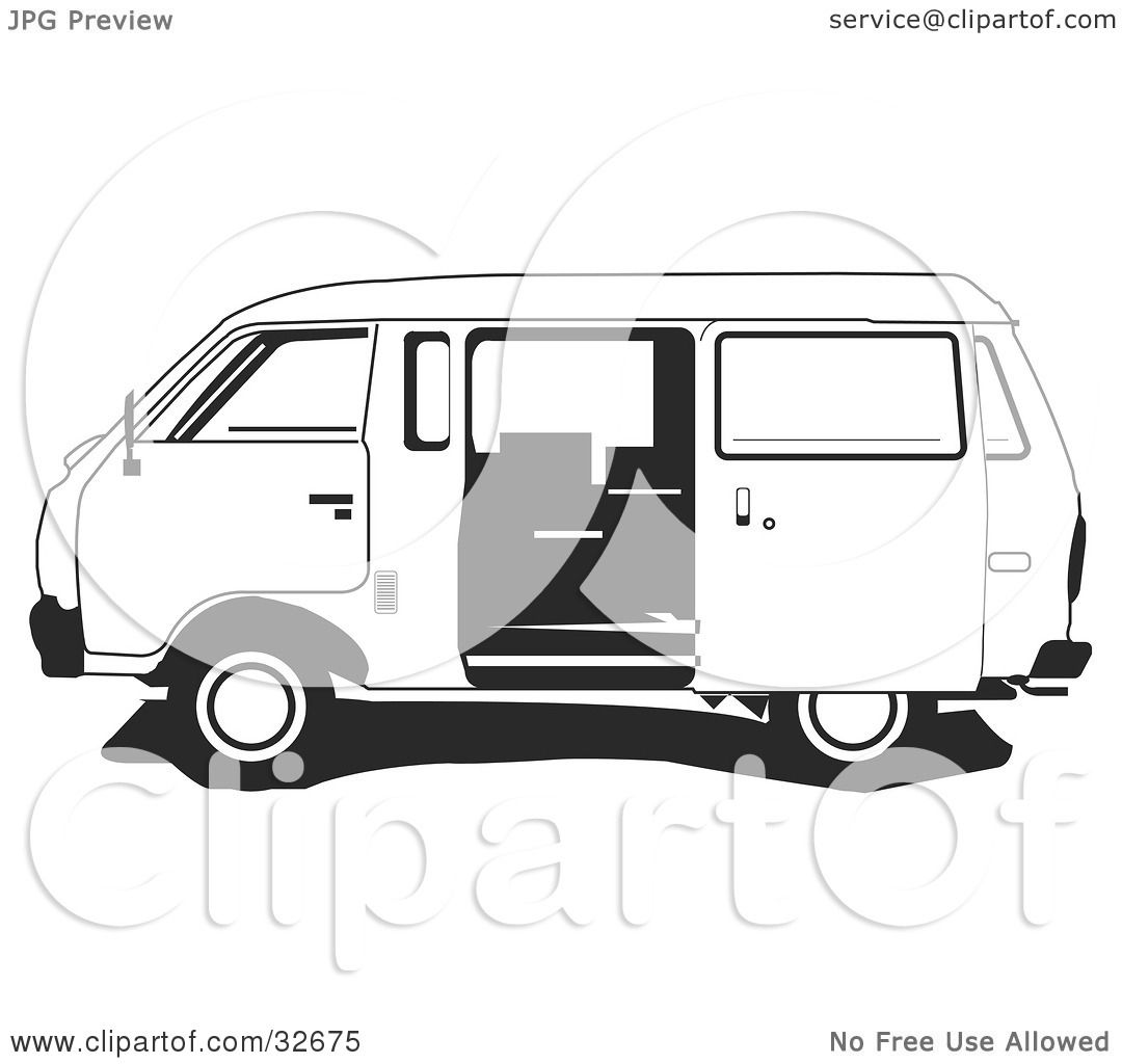 Clipart Illustration of a Black And White Ichi Van With