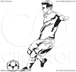 soccer ball kicking clipart player male illustration david rey