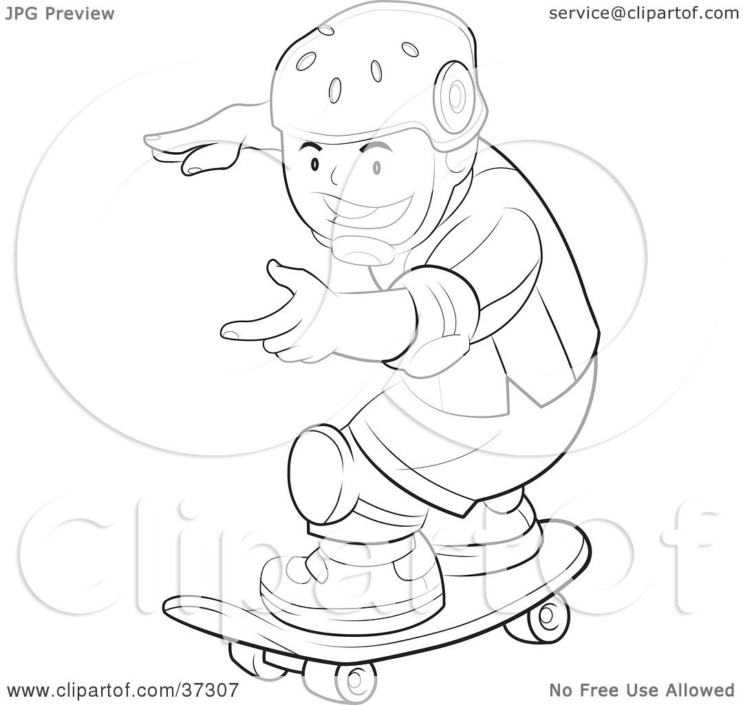 Clipart Illustration Of A Black And White Outline Of A Boy