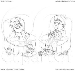 outline woman clipart knitting senior bannykh alex