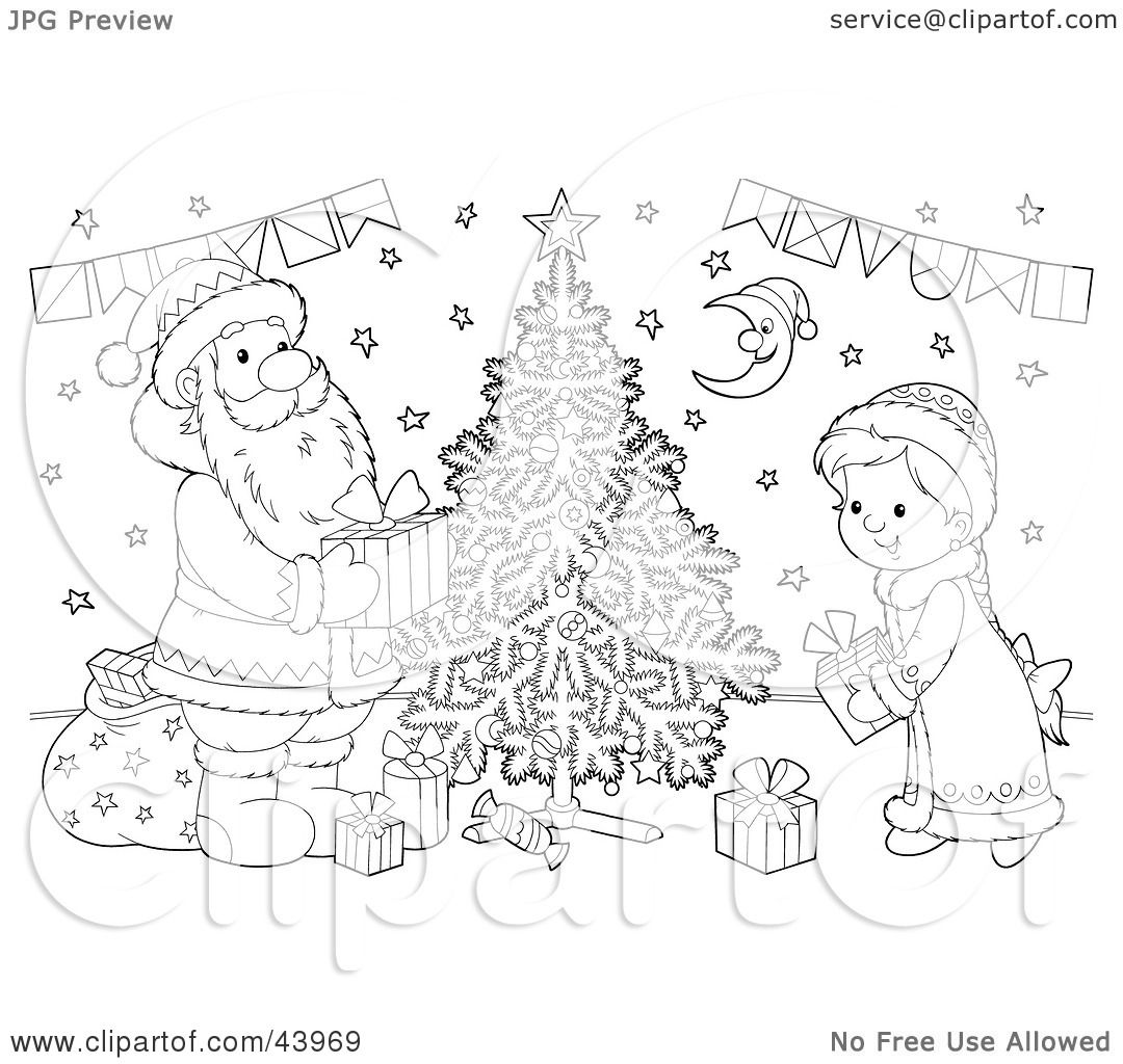 Clipart Illustration Of A Black And White Santa Claus And
