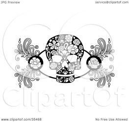 skull roses flower designs clipart illustration element charley franzwa notes regarding
